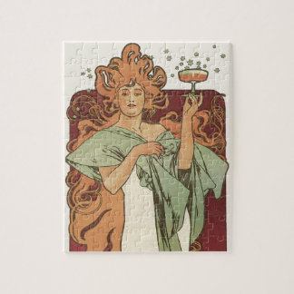 Vintage Art Nouveau by Mucha, Champagne Party Jigsaw Puzzle