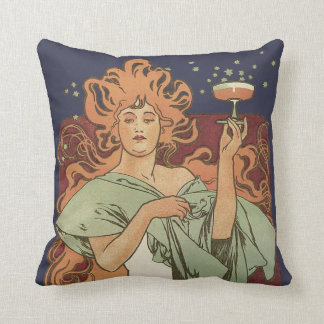 Vintage Art Nouveau by Mucha, Champagne Party Throw Pillow