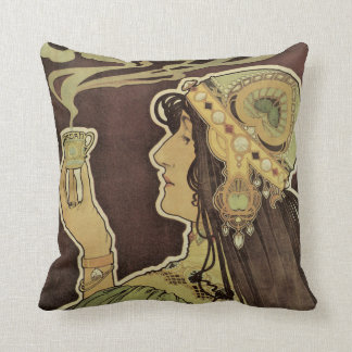 Vintage Art Nouveau Cafe Rajah, Woman Drinking Tea Throw Pillow