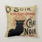 Vintage Art Nouveau, Ce Soir Chat Noir Black Cat Throw Pillow