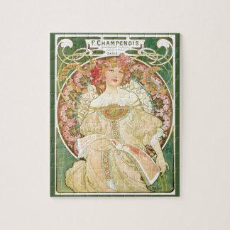 Vintage Art Nouveau, Champenois by Alphonse Mucha Puzzle