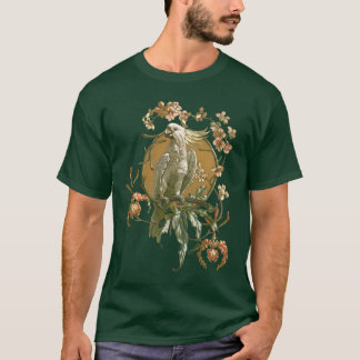 Vintage Art Nouveau, Cockatoo Bird, Orchid Flowers T-Shirt