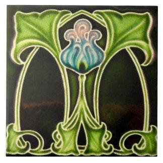 Vintage Art Nouveau Deco Majolica Floral Craftsman Ceramic Tile