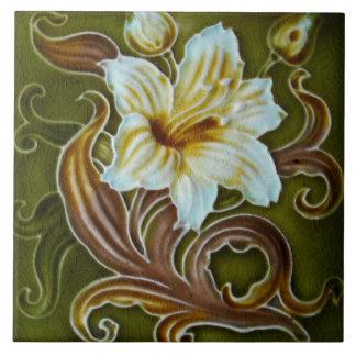 Vintage Art Nouveau Deco Majolica Floral Craftsman Tiles