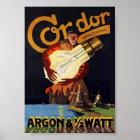 Vintage Art Nouveau Dutch Electric Light Bulb Poster