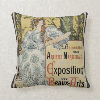 Vintage Art Nouveau, Exposition des Beaux Arts Throw Pillow