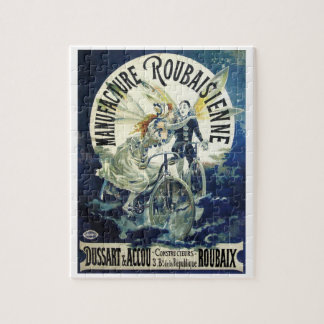 Vintage Art Nouveau Fairies, Pierrot Bicycle Moon Jigsaw Puzzle