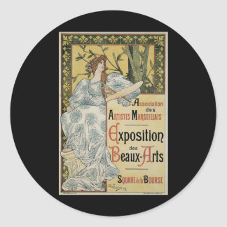 Vintage Art Nouveau; Female Artist and Palette Round Stickers