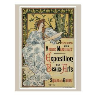 Vintage art nouveau fine arts expo postcard