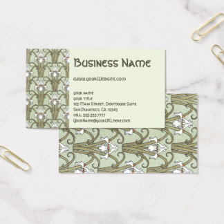 Vintage Art Nouveau Floral Irises Flower Pattern Business Card