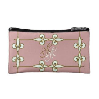 Vintage Art Nouveau Floral Ornament Monogram Makeup Bag
