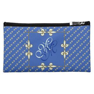 Vintage Art Nouveau Floral Royal Blue Monogram Cosmetic Bag
