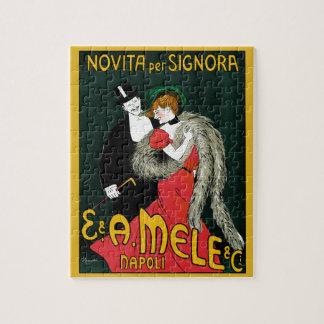 Vintage Art Nouveau, Italian Fashion Love Romance Jigsaw Puzzle