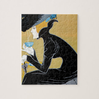 Vintage Art Nouveau, Lady Drinking Marco Polo Tea Puzzle