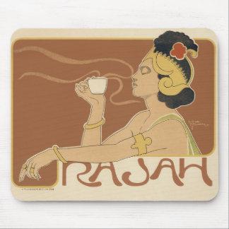 Vintage Art Nouveau, Lady Drinking Tea Cafe Rajah Mousepads