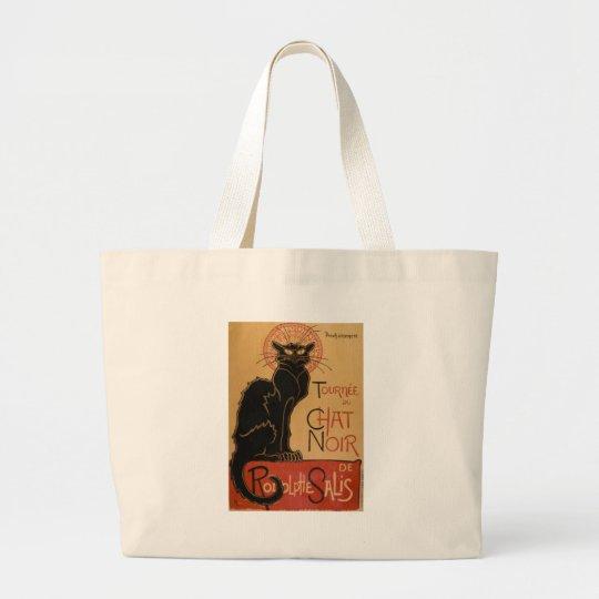 Vintage Art Nouveau Le Chat Noir Black Cat Large Tote Bag