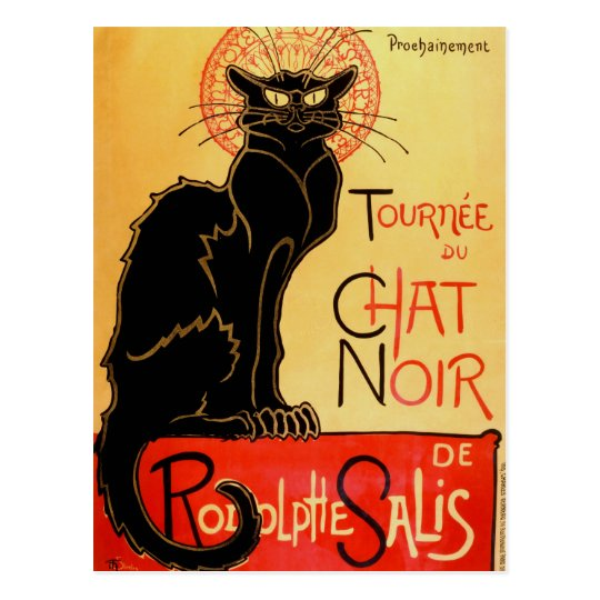 Vintage Art Nouveau Le Chat Noir Black Cat Postcard