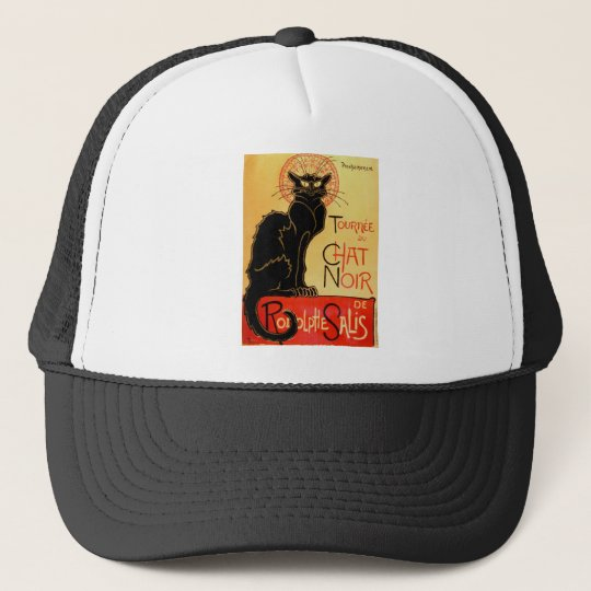 Vintage Art Nouveau Le Chat Noir Black Cat Trucker Hat