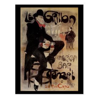 Vintage Art Nouveau Le Grillon, Man Drinking Beer Postcard
