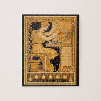 Vintage Art Nouveau, Love Conquers All Scientist Jigsaw Puzzle