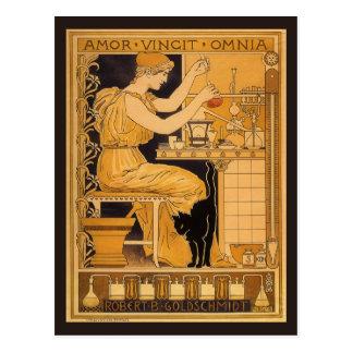 Vintage Art Nouveau Love Conquers All Scientist Post Card