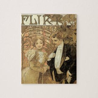 Vintage Art Nouveau Love Romance, Flirt by Mucha Puzzle