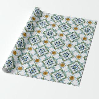 Vintage Art Nouveau Majolica Tile Wrapping Paper