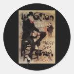Vintage Art Nouveau Man Drinking Beer American Bar Round Sticker