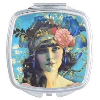 Vintage Art Nouveau Mirror Girl Travel Mirror