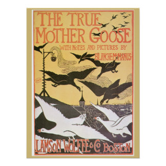 Vintage Art nouveau Mother Goose advert Poster