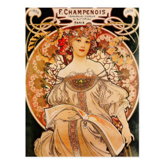 Vintage Art Nouveau Mucha Print Postcard
