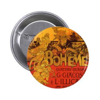 Vintage Art Nouveau Music, La Boheme Opera, 1896 2 Inch Round Button