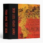 Vintage Art Nouveau Music; La Boheme Opera, 1896 3 Ring Binder