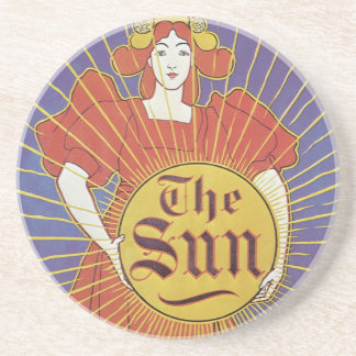 Vintage Art Nouveau, New York Sun Newspaper Coaster