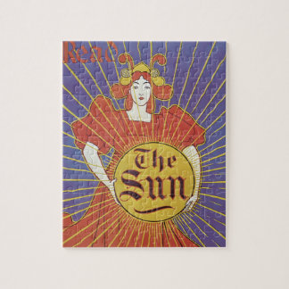 Vintage Art Nouveau, New York Sun Newspaper Jigsaw Puzzle