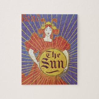 Vintage Art Nouveau, New York Sun Newspaper Puzzles