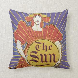 Vintage Art Nouveau, New York Sun Newspaper Throw Pillow