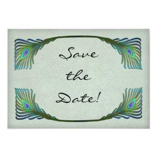 "Vintage Art Nouveau Peacock Wedding Save the Date 3.5"" X 5"" Invitation Card"