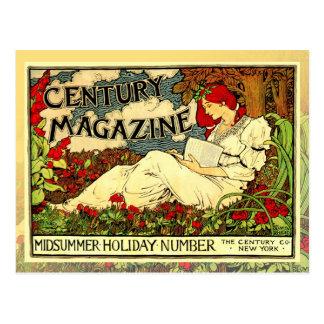 Vintage Art Nouveau Poster of woman reading Postcard