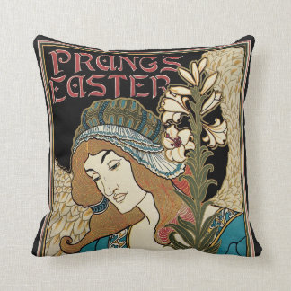 Vintage Art Nouveau, Prangs Easter Publications Throw Pillow