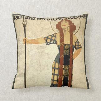 Vintage Art Nouveau Richard Strauss-Woche. Munich Throw Pillow