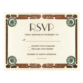 Vintage Art Nouveau RSVP Wedding Postcards I