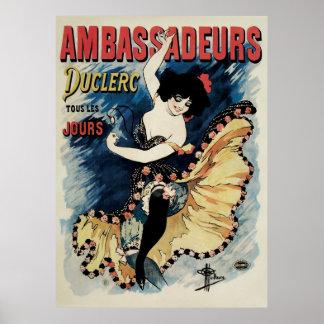 Vintage Art Nouveau, Spanish Flamenco Dancer Poster