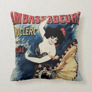Vintage Art Nouveau, Spanish Flamenco Dancer Throw Pillow