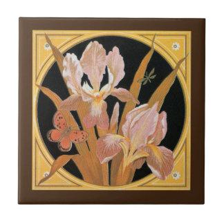 Vintage art nouveau spring leaves tile