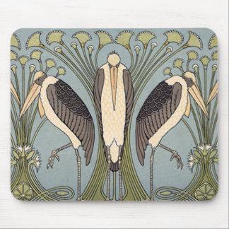 Vintage Art Nouveau Storks Mouse Pad