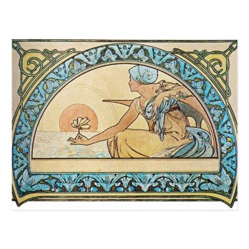 Vintage Art Nouveau sunset Post Card