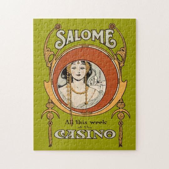 Vintage Art Nouveau Theatre Casino Woman Design Jigsaw Puzzle