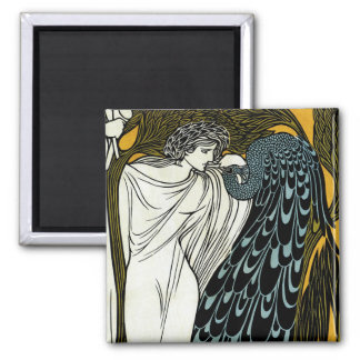 Vintage Art Nouveau, This Kiss, Woman with Peacock Square Magnet