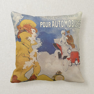Vintage Art Nouveau, Woman Antique Convertible Car Throw Pillow